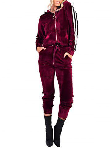 Online Striped Long Sleeve Velvet Zipper Sweat Suit