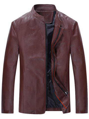 Grandad Collar Full Zip Faux Leather Jacket
