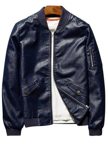 Faux Leather Bomber Jacket with Sleeve Pocket