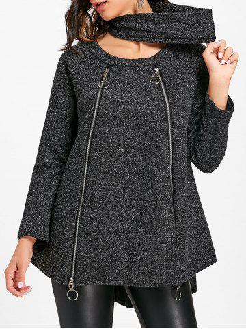 Zips Tweed Long Sleeve High Low Top