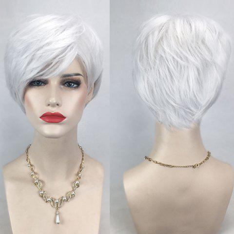 Unique Short Side Bang Layered Straight Cosplay Synthetic Wig