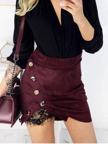 Trendy Button Lace Panel Mini Skirt