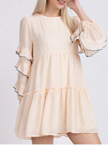 Cheap Round Neck Ruffle Tiered Blouse