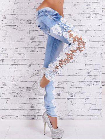 Cheap Lace Crochet Light Wash Skinny Jeans