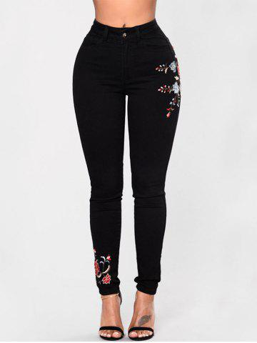 Trendy Skinny High Waisted Embroidered Jeans