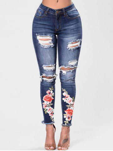 Store Embroidered Ripped Distressed Jeans