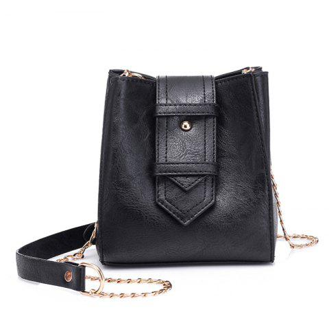 Trendy Buckle Strap Chain Faux Leather Crossbody Bag