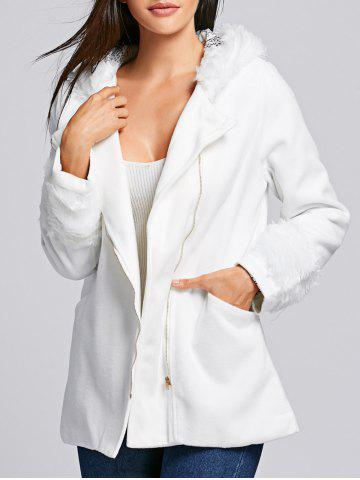 Chic Hooded Long Sleeve Loose-Fitting Zippered Women's Coat - WHITE - ONE SIZE