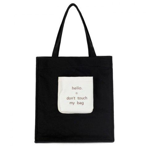 New Contrasting Color Letter Print Canvas Shoulder Bag
