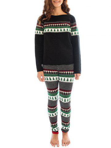 New Christmas Printed Sweatshirt Sleepwear Set