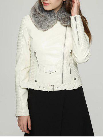 Cheap Faux Fur Collar Zipper Jacket with Waist Belt