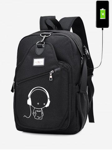 Shops Cartoon Print USB Charging Port Luminous Backpack