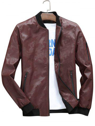 Zip Up Camo Faux Leather Bomber Jacket