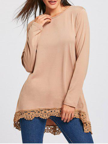 Discount High Low Lace Panel Long Sleeve T-shirt