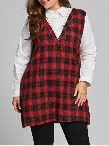 Fashion Plaid Panel Plus Size Long Sleeve Blouse