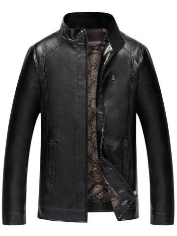 Faux Leather Badge Zip Up Jacket