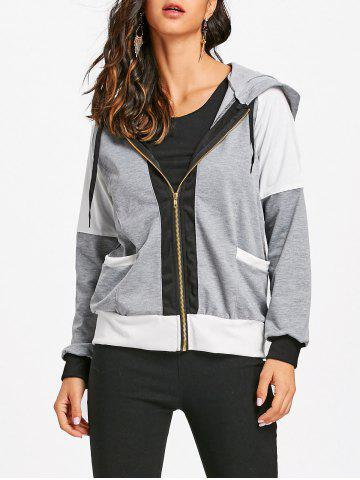 Sale Zipper Raglan Sleeve Hooded Jacket