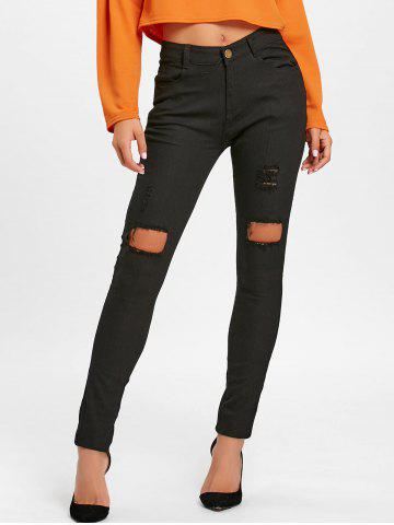 Trendy High Waisted Ripped Skinny Pants