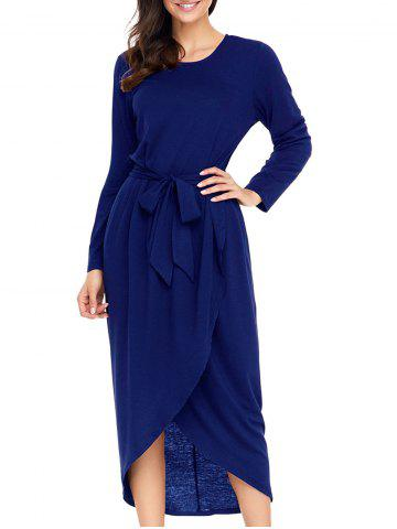 Latest Long Sleeve Tulip Belted Dress