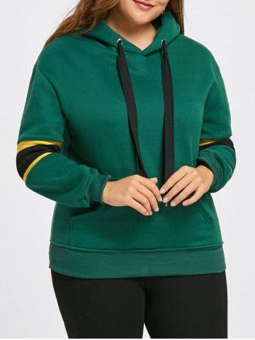 Shops Stripe Insert Fleece Lined Plus Size Pocket Hoodie