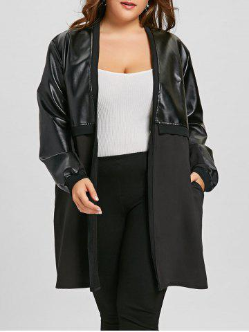 Trendy Long Plus Size Faux Leather Insert Coat