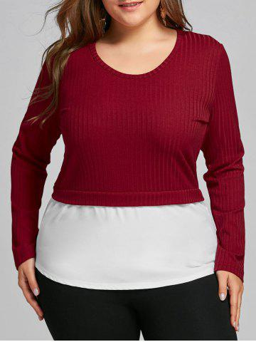 Discount Plus Size Two Tone High Low Blouse