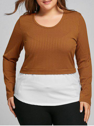 Chic Plus Size Two Tone High Low Blouse