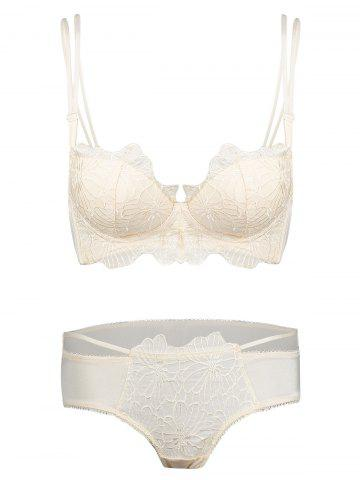 Fashion Embroidered Double Strap Push Up Bra Set