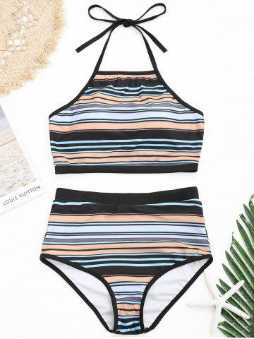 Shops Underwire Halter Striped Bikini Swimsuit