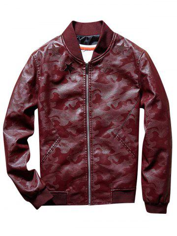 Star Patch Faux Leather Camo Bomber Jacket
