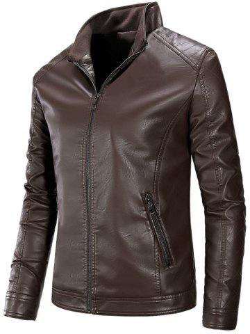 Full Zip Stand Collar PU Leather Jacket