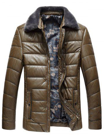 Affordable Faux Fur Collar Padded Zip Up PU Leather Coat