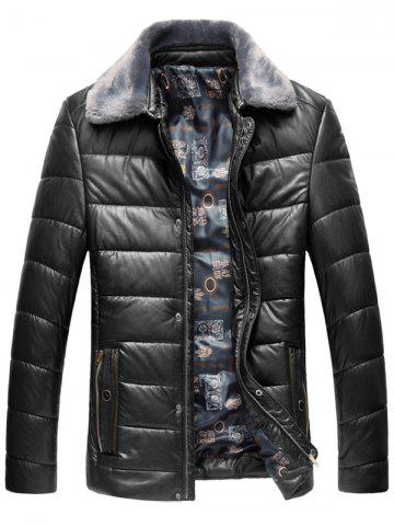 Faux Fur Collar Padded Zip Up PU Leather Coat