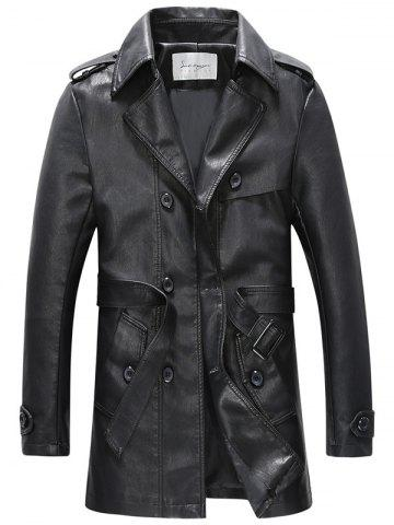 Best Belt Double Breasted PU Leather Trench Coat