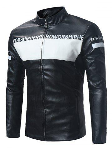 Color Block Graphic Zip Up PU Leather Jacket
