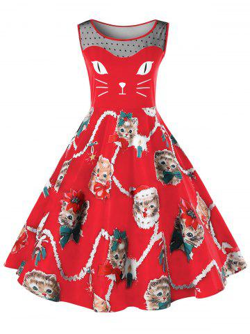 Chic Christmas Plus Size Kitten Pattern Swing Dress