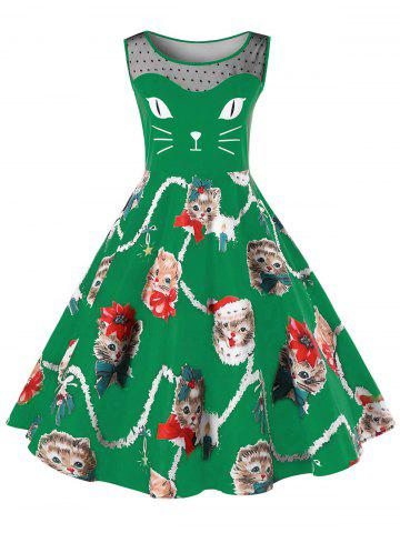 Discount Christmas Plus Size Kitten Pattern Swing Dress