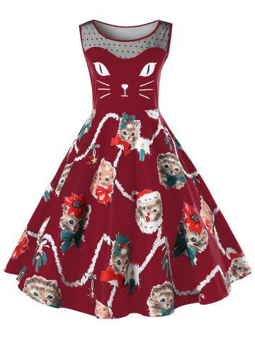 Sale Christmas Plus Size Kitten Pattern Swing Dress