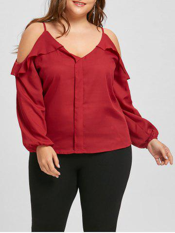 Affordable Plus Size Ruffled Chiffon Long Sleeve Cold Shoulder Top