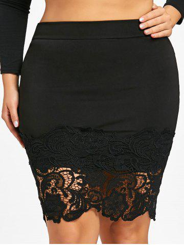Cheap Plus Size Lace Hem Fitted Skirt