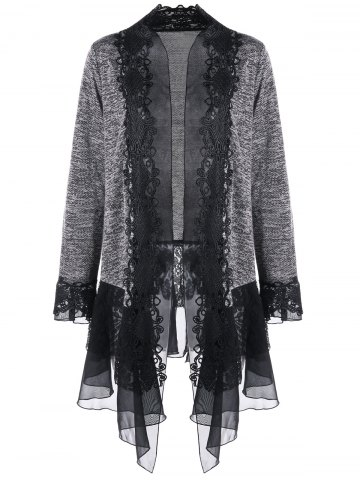 Fancy Plus Size Lace Trimmed Open Front Cardigan