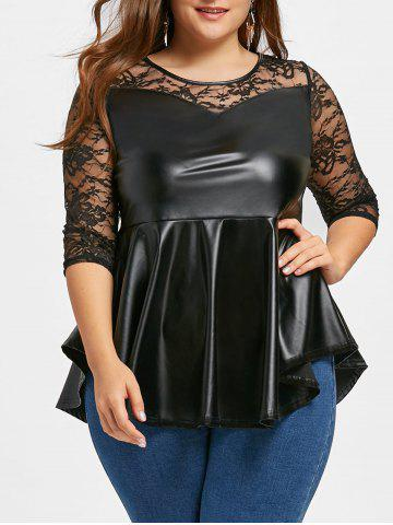 Shop Plus Size PU Leather Lace Yoke Peplum Top