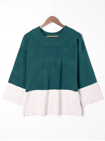 Shop Plus Size Two Tone Drop Shoulder Sweater