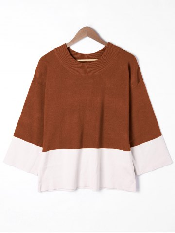 Trendy Plus Size Two Tone Drop Shoulder Sweater