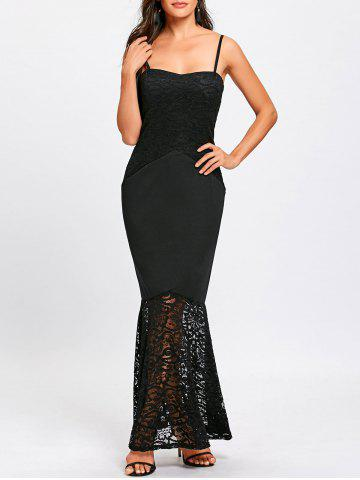 Discount Long Lace Insert Fitted Tight Mermaid Slip Dress