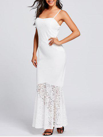 Trendy Long Lace Insert Fitted Tight Mermaid Slip Dress