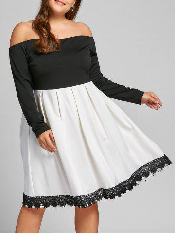 Unique Plus Size Long Sleeve Fit and Flare Dress