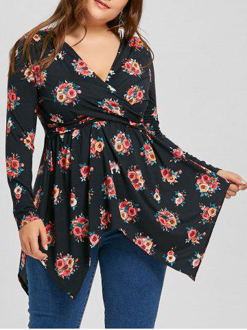 Chic Plus Size Floral Tunic Handkerchief Surplice T-shirt