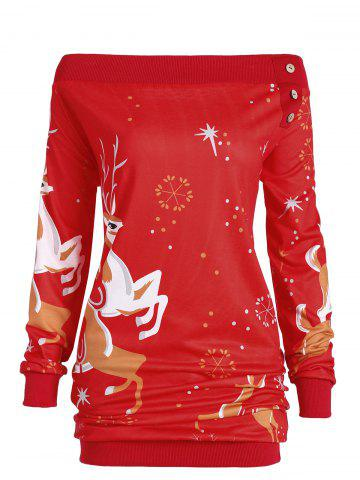 Store Plus Size Off Shoulder Elk Sweatshirt