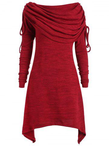 Hot Plus Size Foldover Collar Ruched Tunic Top